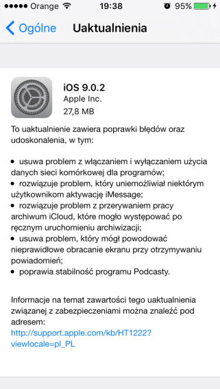 iOS 9.0.2 na iPhone'a 5 (OTA)