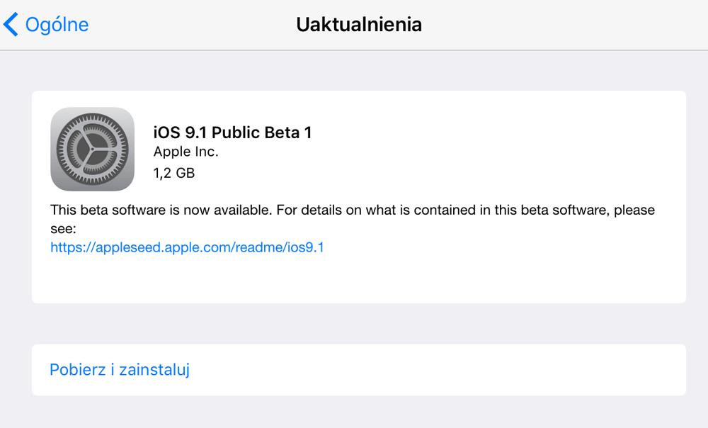 Aktualizacja iOS 9.1 Public Beta