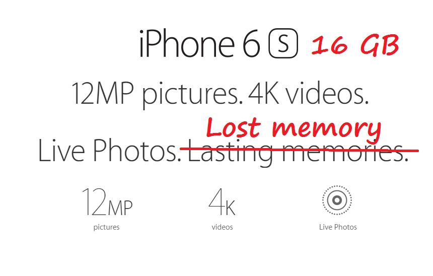 iPhone 6s 16 GB ma za mało miejsca