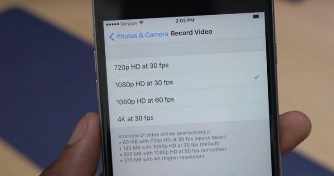 Miejsce potrzebne na nagranie filmu 4K na iPhone'ie 6s