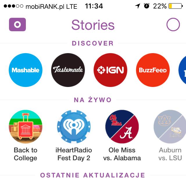 Snapchat Stories - funkcje Discover i Na żywo