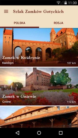 Aplikacja mobilna: Szlak zamków gotyckich (screen)