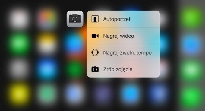 Szybki dostęp do funkcji dzięki 3D Touch w aplikacji Aparat (iPhone 6s i 6s Plus)