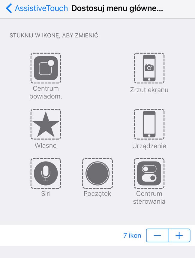 Dostosuj menu główne w iPhone'ie i dodanie przycisku Zrzut ekranu
