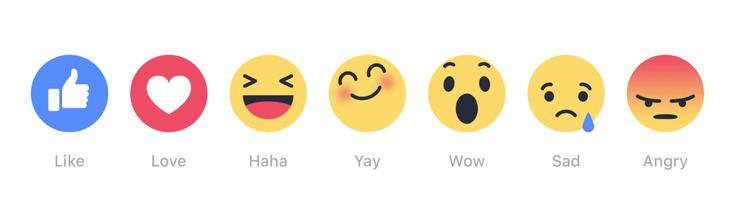 Reakcje na Facebooku (6 emotikon obok like'a)