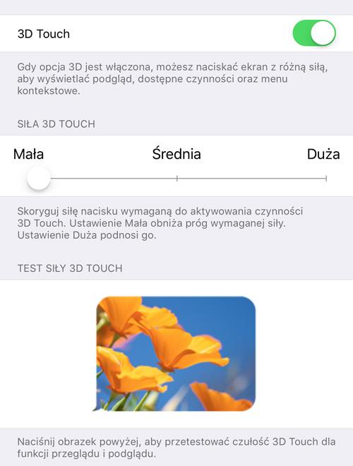 Ustawienia 3D Touch w iPhone'ie 6s Plus