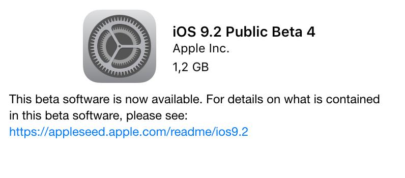 iOS 9.2 Public Beta 4