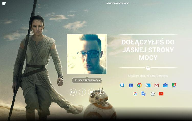 Jasna strona mocy - Google - Obudź ukrytą moc - Star Wars motyw
