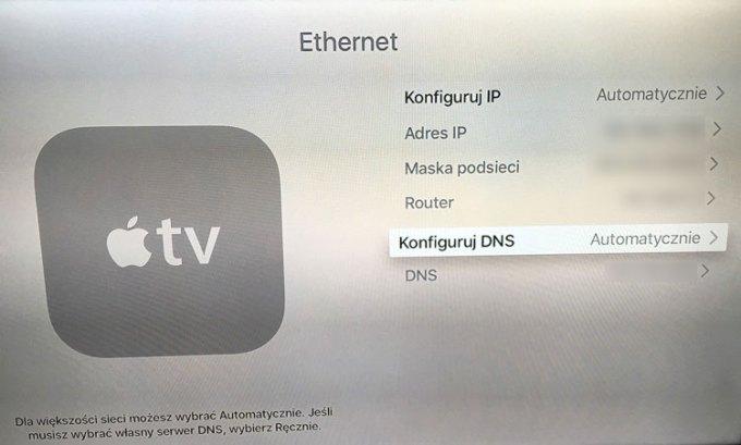 Ustawienia Apple TV - Konfiguruj DNS