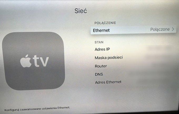 Apple TV - Ustawienia sieci