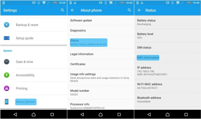 IMEI w Ustawieniach smartfona z Androidem