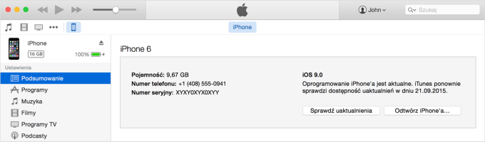 IMEI iPhone'a w iTunes
