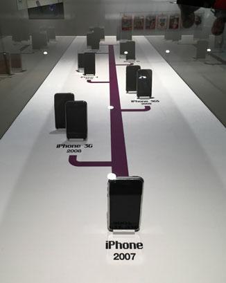 Modele iPhone'a w Apple Museum