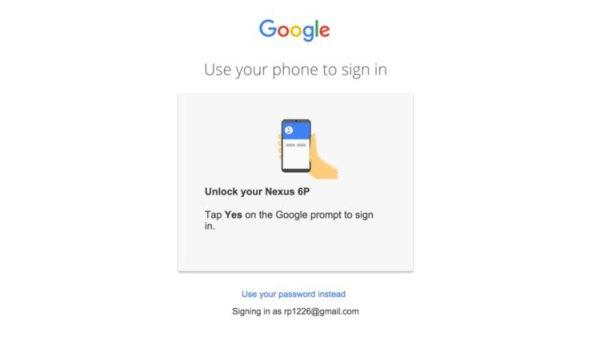 Logowanie do konta Google smartfonem bez hasła