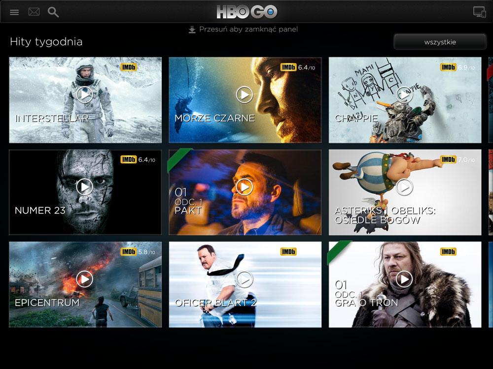 Aplikacja mobilna HBO GO (screen z iPada)
