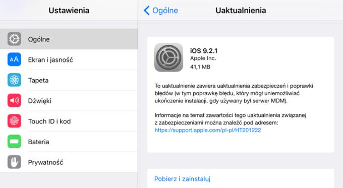 iOS 9.2.1 w trybie OTA na iPhone'a 6s Plus