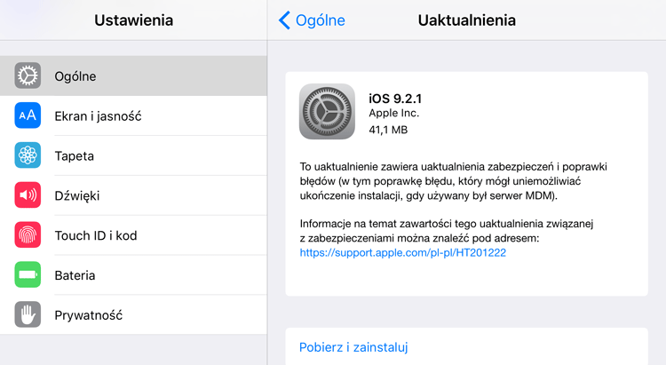 iOS 9.2.1 w trybie OTA na iPhone'a 6s Plus