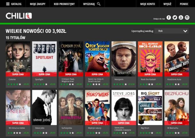 Serwis Chili.tv - screen wersji przeglądarkowej
