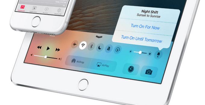 Przełącznik trybu nocnego w Centrum sterowania iOS 9.3