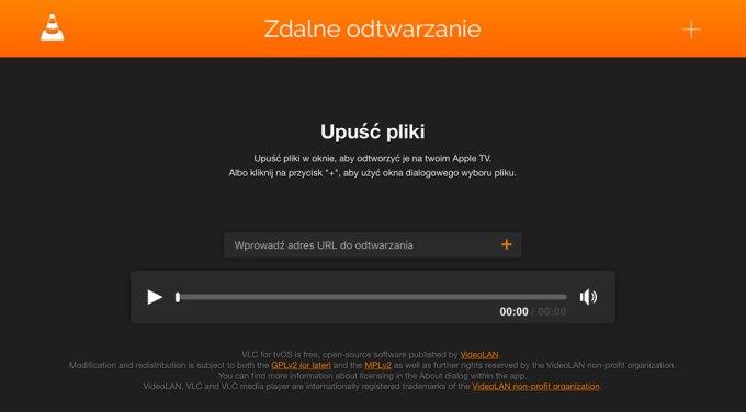 VLC zdalne odtwarzanie z komputera (widok z okna przeglądarki internetowej)