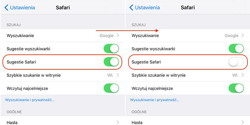 Wyłączenie sugestii Safari pod systemem iOS