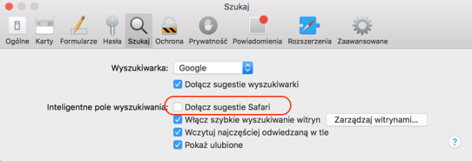 Wyłączenie sugestii Safari pod systemem OS X