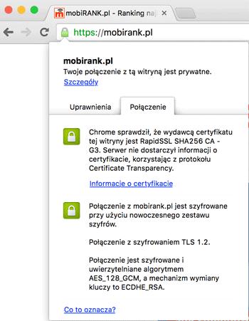 Informacje o certyfikacie serwisu mobiRANK.pl