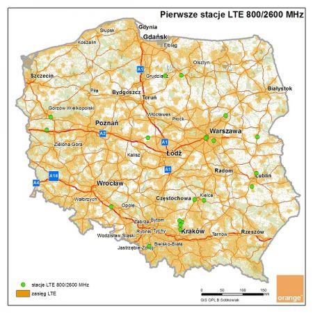 20 nowych stacji bazowych LTE 800/2600 Mhz Orange Polska