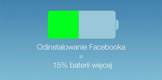 Odinstalowanie Facebooka ze smartfona = 15% baterii więcej każdego dnia