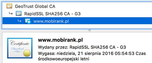 Szczegółowe informacje o certyfikacie bezpieczeństwa serwisu mobirank