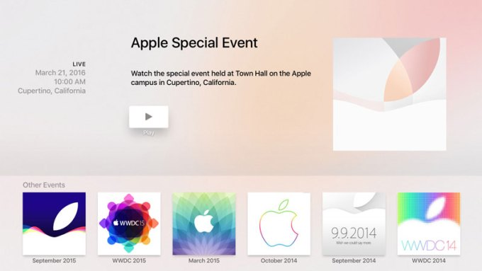 Aplikacja Apple Special Event na Apple TV (4. gen.)