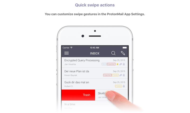 Screen aplikacji mobilnej ProtonMail