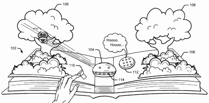 Książki z elementami rozszerzonej rzeczywistości (patent Google)