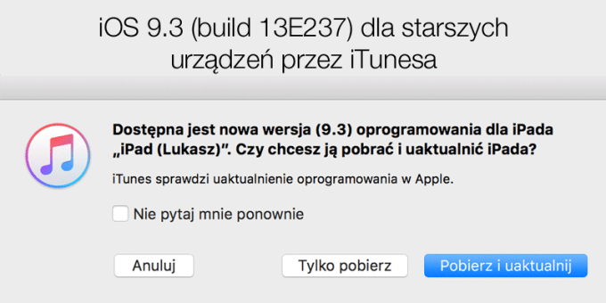 iOS 9.3 (build 13E237) dla starszych iUrządzeń