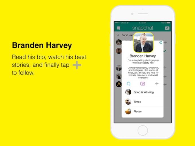 Rozbudowany profil na Snapchacie z biografią i innymi funkcjami