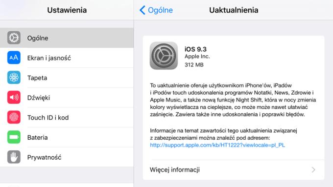 Uaktualnienie systemu iOS 9.3 w trybie OTA
