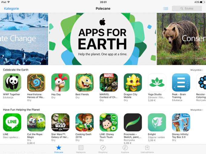 Screen ze sklepu App Store z aplikacjami z okazji Dnia Ziemi 2016