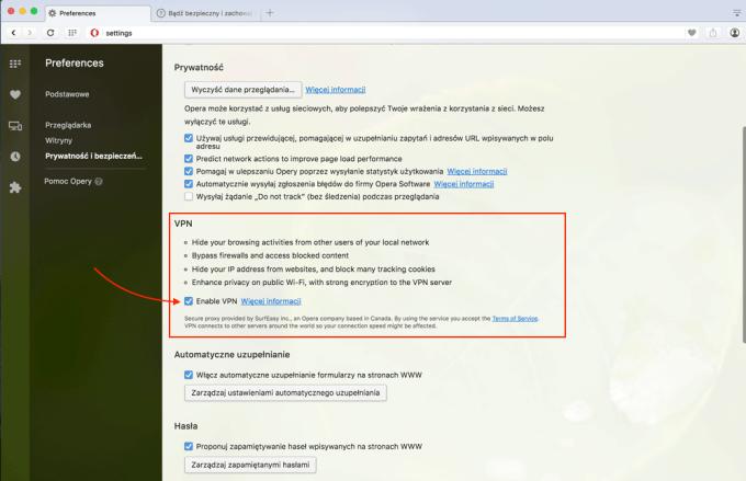 Ustawienia usługi VPN w przeglądarce Opera