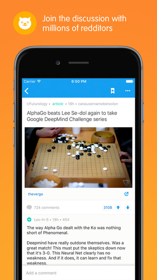 Screen z aplikacji mobilnej Reddit