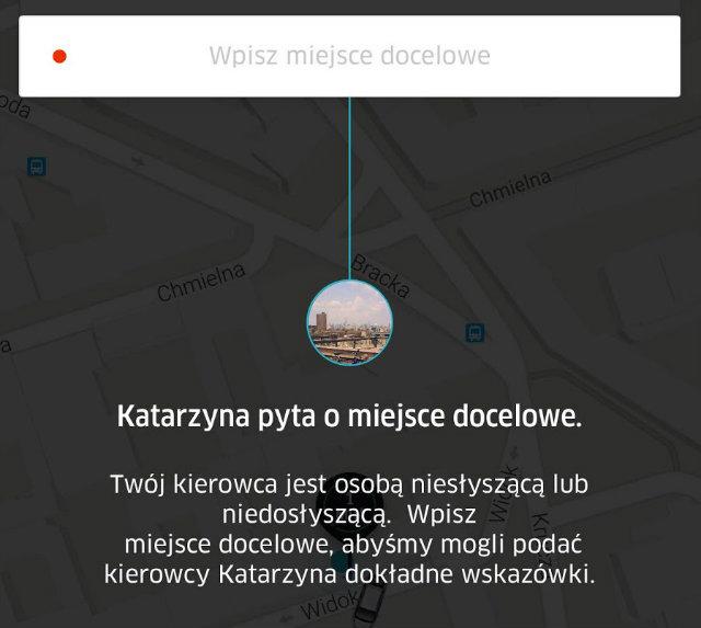 Screen z aplikacji Uber (osoby głuche)