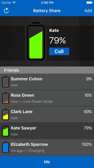 Screen z aplikacji Battery Share - stan naładowania baterii znajomych