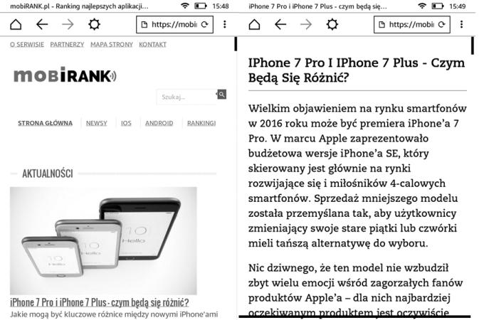 Widok strony w Experimental (Web) Browser na czytniku Paperwhite 3