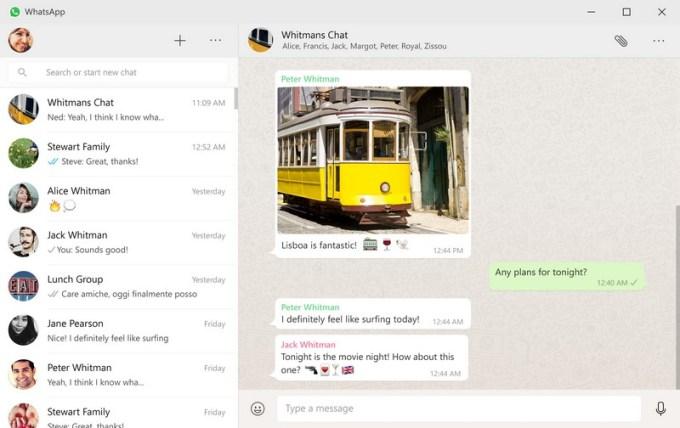 Screen aplikacji WhatsApp na komputery
