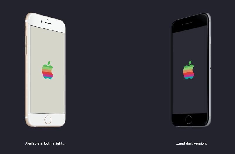 Jasna i ciemna tapeta z retro logo Apple na WWDC16