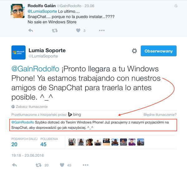 Screen z Twittera na temat informacji wydania Snapchata na Windows Phone'a