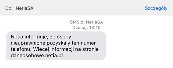 SMS od firmy Netia w sprawie wykradzionych danych osobowych