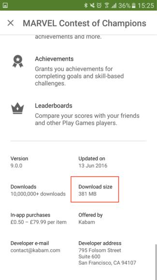 "ĺDownload size"" - Google Play - screen"