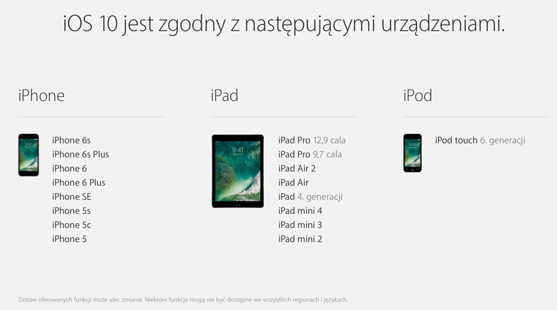 Lista kompatybilnych urządzeń z systemem iOS 10