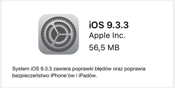 iOS 9.3.3 dostępny do pobrania w trybie OTA