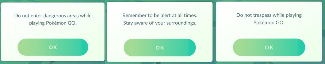 Komunikaty ostrzegawcze, które wyświetlaja się po uruchomieniu aplikacji